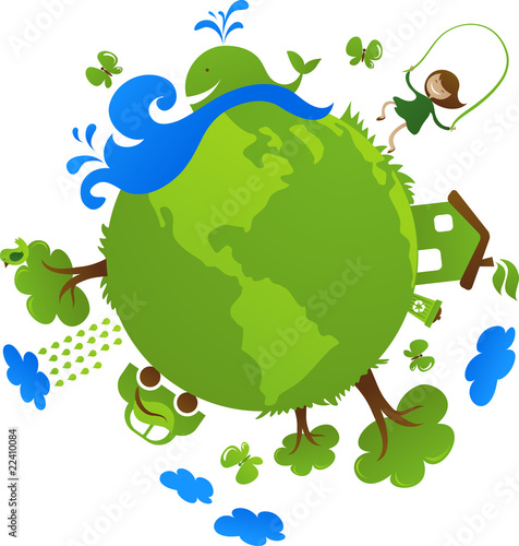 Green planet with many environmental icons