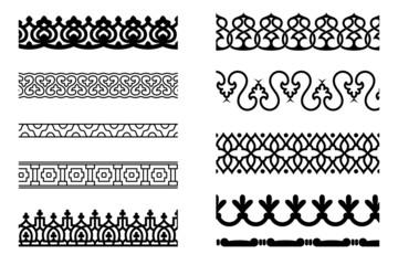 Set of pattern brushes for border decoration