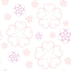 Colorful seamless pattern - pink flowers on background