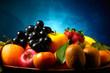 Vassoio di frutta su sfondo blu