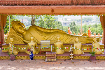 The giant Reclining Buddha in Sihanouk Ville , Cambodia.