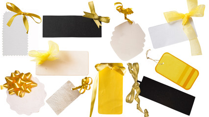 yellow, white and black tags