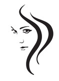 Fototapety Young woman vector face, fashion symbol