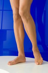 Beine, Frauenbeine vor blau