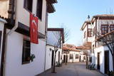 Ottoman style renovated houses street in Ankara - Turkey poster