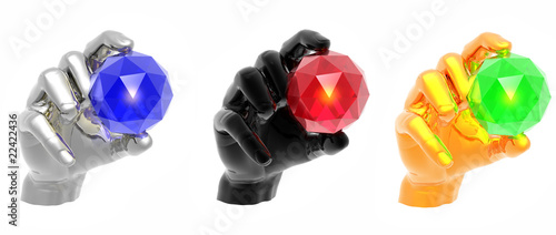 hand with gem on a white background