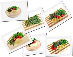 Collage di primi piatti con asparagi