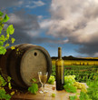 White wine with old wine barrel on background of vineyard