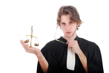 Justice - Jeune avocat tenant une balance