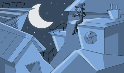 strega violinista al chiaro di luna