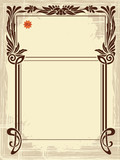 Abstract framework from the bound plants in style art-nouveau poster