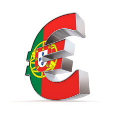 Shiny Euro Symbol - Textured Front - Flag of Portugal