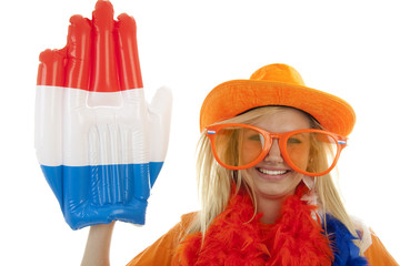 Female dutch soccer fan over white background