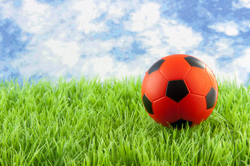 orange soccer ball on grass