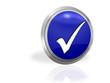 Haken im blauen Button