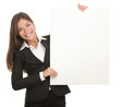 Businesswoman whiteboard sign