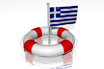White life buoy with rope isolated and flag of Greece