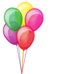 Color balloons floating. Isolated on white. Eps10.