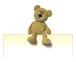 Nhi Bear sitting on a billboard