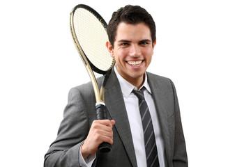 junger business mann mit tennisschläger