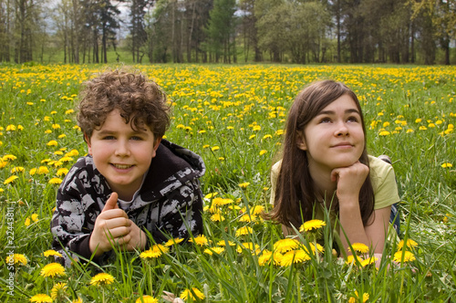 Girl and boy lying on green meadow