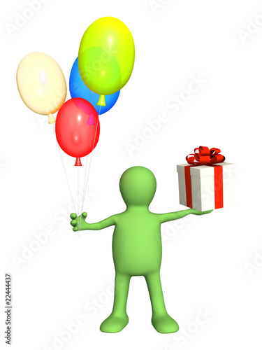 3d puppet with gifts
