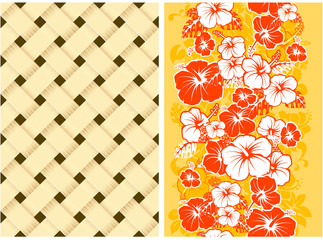 Hawaiian Floral Seamless Background with Hibiscus