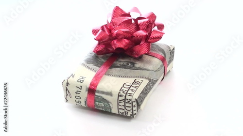 Gift wrapped in hundred dollar bill loop - HD