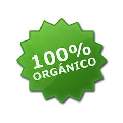 """Estrella brillane con texto """"100% ORGANICO"""""""