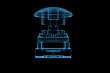 Button 3D rendered xray blue transparent