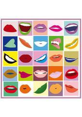 Labbra femminili con diverse espressioni