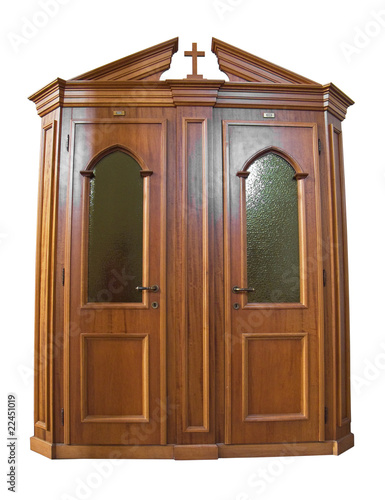 Wooden Confessional isolated on white.