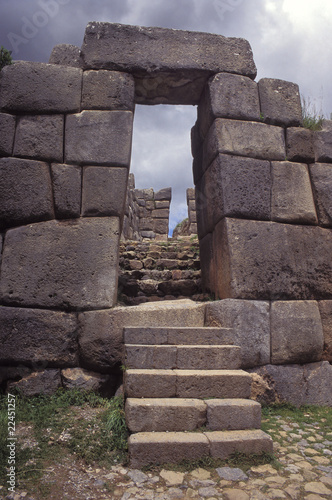 sacsayhuaman walls, ancient inca fortress near Cuzco, Peru.