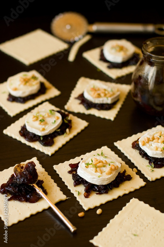 preparing the goat cheese and onion mini tarts