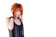 Redhead young woman holding headphones