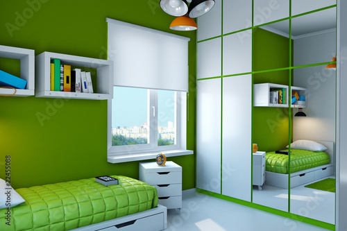 Interior of teenager. Look other views in my protfolio.