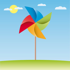 colorful windmill vector origami illustrastion