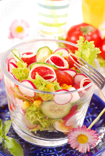 fresh salad with salami