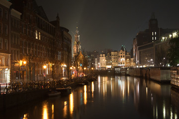 Amsterdam channel by night and Westerkerk