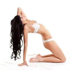 woman wearing white lingerie