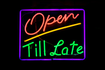 Open till late neon sign