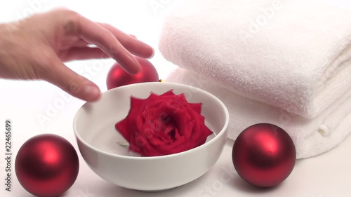 Spa towels holiday ornaments and rose - HD