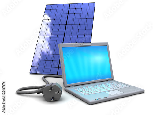 laptop and solar panel