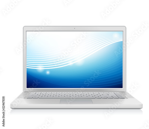Detailed vector laptop with abstract wallpaper