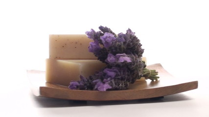 Herbal soap and lavender on tray zoom out - HD
