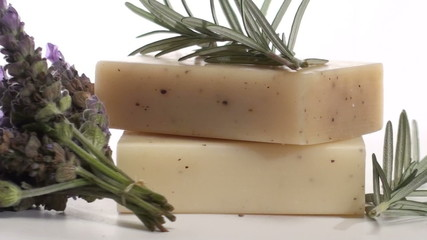 Herbal soap with rosemary and lavender zoom out - HD