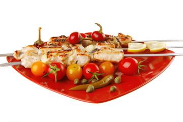 roast shish kebab on red