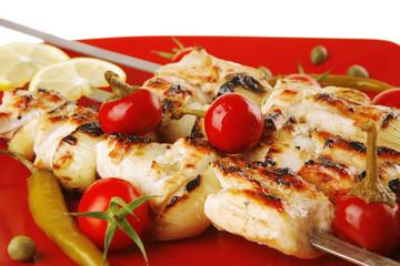 grilled pork shish kebab