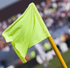 Corner flag in a soccer field