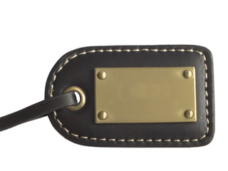 leather tag with metal
